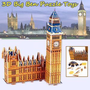 3D 퍼즐 런던 빅 벤 모델 키트 어린이를위한 장난감 세계 명소 교육 DIY 수제 조립 지적 개발 장난감 선물