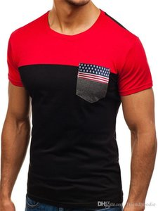 Flag الشريط جيب رجل بلايز أزياء الاتجاه الصيف جولة الرقبة قصيرة الأكمام الرجال قمم السببية تنفس المحملات