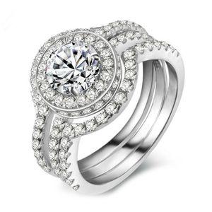 3-в-1 кольца серебро натуральный белый сапфир кольцо Кристалл Циркона бриллиантовое кольцо обручальное кольцо набор размер 5-12