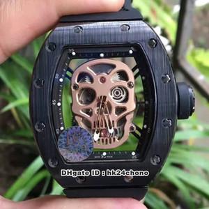 5 стиль Лучшие часы 43X50mm RM52-01 черный керамический череп Механические Мужские часы RM052 розовое золото Циферблат Skeleton Rubber Strapt Мужская уборная Спорт Watche