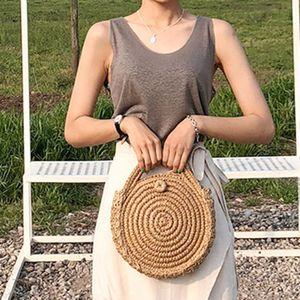 High Quality Women Woven Circular Straw Handbag Handmade Retro Rattan Shoulder Beach Bag Round Messenger Bags Schoudertassen