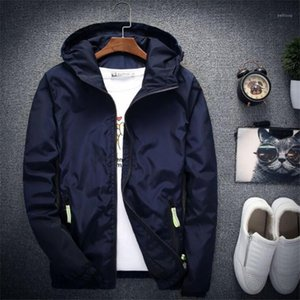 남성용 재킷 남성용 윈드 브레이커 자켓 남성 까마귀 코트 세련된 패션 여성 후드 얇은 윈드 브레이커 지퍼 코트 Outwear Fit1
