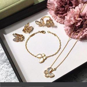 Kadınların düğün kolye bilezik küpe için Marka 925 gümüş, dört yapraklı çiçek takı seti Kelebek yonca anne kabuk CZ takı çalacak