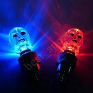 Bicicleta Mix Crânio luzes da roda LED Flash Light Neon Lâmpada de bicicleta à noite carro pneu válvula do pneu da roda da bicicleta Caps Luzes ZZA701 3000pcs