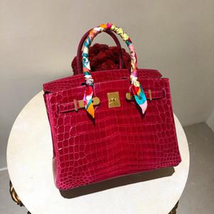 Tapa de la manera del bolso de señoras de la manera de lujo de calidad hombro bolsa de mensajero de 18 quilates botón de oro de cuero real de cocodrilo del Nilo chapado en oro