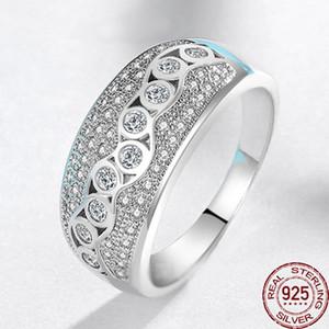 Original 100% 925 Sterlingsilber CZ-Diamant-Hochzeit Ringe für Frauen-Verpflichtungs-Hochzeit Schmuck-Finger-Ring-XR327