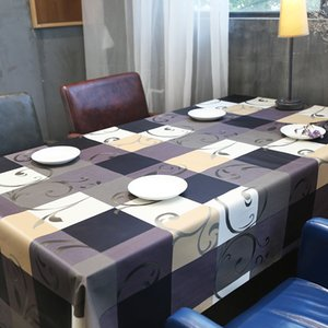 European PVC Rectangular Tablecloth For Table Cover Waterproof Coffee Table Cloth Insulate Plaid Floral TV Cabinet Decor Cover T200707