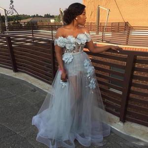 Off Shoulder Prom Dresses Long Blue Tulle Handmade 3D Flowers Celebrity Dresses Cheap vestidos Women Evening Party Gowns