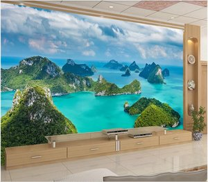3d wallpaper stickers custom photo Modern minimalist natural landscape island seascape TV background home decorate wallpaper for walls 3 d