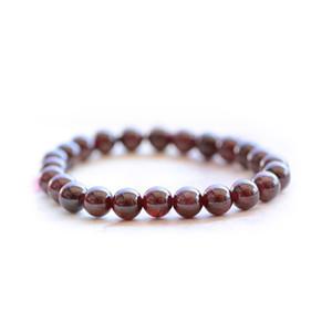 Wine Natural Vermelho Garnet Beads pulseira trecho 6-8 milímetros de pedras preciosas Energia Pedra Poder Curativo Moda Braceletes Jerwelry Atacado