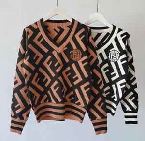 botão V-pescoço de outono inverno Mulheres senhora Long Sleeve Cardigan camisola Oversize luxo coreanos malha Feminino