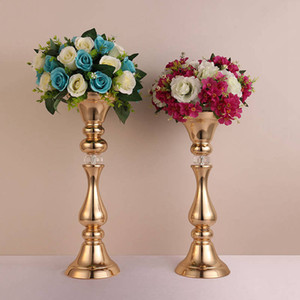 Flowers Vases Gold Plated Candle Holders Metal Candlestick Wedding Props Road Lead Hotel Stage Decoration Height 45 50CM