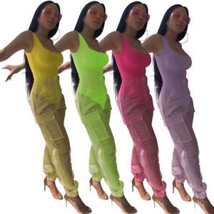 Sexy Zweiteiler Bodysuit Top und Mesh Pants Neon-Rosa-Grün Sommer 2 Stück Verein Outfits Matching Sets