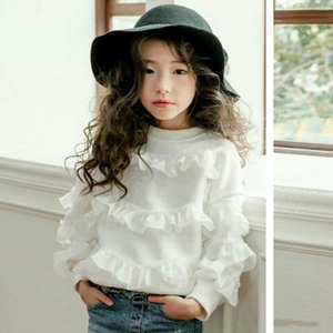 New Girls Long Sleeve T-shirt For Baby Children Lace Tee Shirt Splice Floral Personality Outerwear Kids Princess Coat,#3036