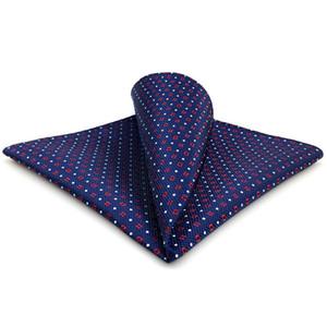 CH24 Navy Red White Dots Mens Pocket Square Silk Wedding Classic Handkerchief Brand New Accessory Hanky