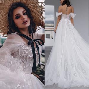 2020 boda del hombro Nueva Beach Dot Tulle de los vestidos de una línea de moda de Bohemia Vestidos de novia de encaje apliques Shimmy Vestido de Noivas