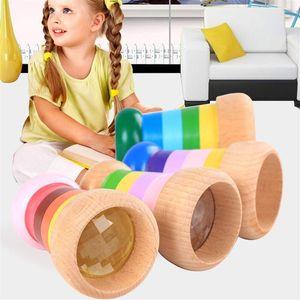 Arco-íris mágico Mini madeira Kaleidoscope Bee Efeito Olho Polygon Prism Toy Crianças
