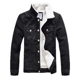 Denim Vestes Hommes 2018 Thicken Toison d'hiver Veste Manteaux coton hommes col de fourrure Casual Jeans Vestes Vêtements pour hommes militaires