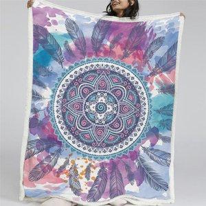 HM Leben Sherpa Decke Aquarell-Mandala Hippie Federn Drucktuch-Flanell-Vlies Reversible Bett Couch Fluffy Decken