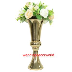 Nouveau style En Gros trompette en forme de sillver plaqué métal vase à fleur pour le mariage pièce maîtresse décoration decor341