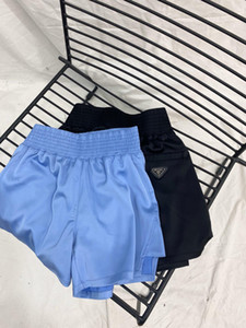 20ss 해변 짧은 바지를 실행하는 여성 디자이너의 고급 바지 스포츠 편안 고품질 측 탄성 요가 바지 허리띠 격자 무늬
