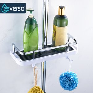 EVERSO Bathroom Shelf Shower Storage Rack Holder Shampoo Bath Towel Tray Home Bathroom Shelves Single Tier Shower Head Holder CX200704