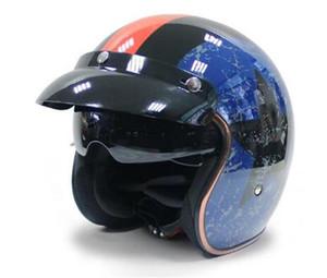 Универсальный Мотоцикл Шлем Harley ретро Open Face Холодная Защита Безопасный езда Scooter головной убор с Visor