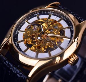 Lüks Üst Marka Kazanan Navigator Serisi Retro Altın İskelet Beyaz İzle Otomatik Erkek Deri El saatler Erkekler Otomatik İzle