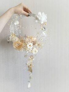 High-End-Custom-Acryl-Kunststoff-Schlauch und Silberdraht Hochzeitsstrauß blass Gold weiße Seidenblume Hochzeitsstrauß