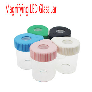 155ml الجاف عشب الزهور 3.5G جرة مكبرة LED ضوء زجاج خبأ التخزين مع غطاء من البلاستيك مماثلة لSmokus