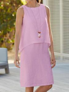 Gefälschte 2Pcs Kleid-Frauen Sleeveless feste Kleider Sexy Damen Arbeit eine Linie Kleider 5XL Sommer weiblich