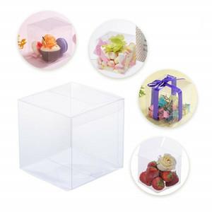 50pcs / lot favore PVC trasparente Boxes Nozze festa di compleanno di caramella Macaron torta Engage Piazza del fiore del nastro di caramella di regalo di Natale K06