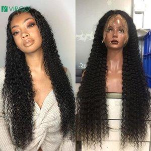 Дева 4x4 закрытие парик вьющиеся 13x6 кружева фронт человеческих волос парики 28 30 дюймов глубокая волна длинный фронтальный парик для чернокожих женщин