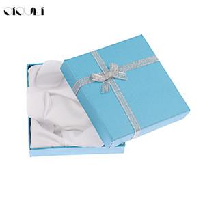 OIQUEI 9 * 9 * 2mm Boîte à Bijoux Affichage Carton Bracelet Collier Boîte Emballage Emballage Cadeau Boîtes avec Éponge Satin Ruban En Gros