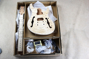 Factory Custom Semi-Hollow Electric Guitar Kit (Teile) mit Mahagoni-Korpus und Hals, Flame Maple Veneer, Chrom-Hardware, DIY-Gitarre