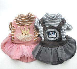 Perro Gato vestido de pana camisa Mono StripedLace gato del perrito de la correa de la falda de los mamelucos del equipo del otoño prendas de vestir de tela perros