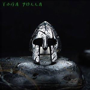 Vintage Kişilik Spartan Savaşçı Kaskı Paslanmaz Çelik Yüzük Erkek Minimalist Paslanmaz Çelik Biker Mücevher Hediyelik