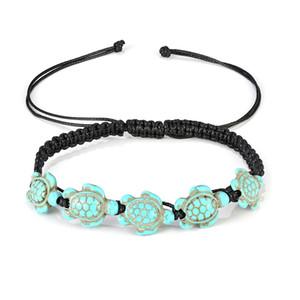 Ligne d'été de plage de cire Turquoise Foot Ornaments Cinq tortues Bracelet de cheville pour les femmes Cheville Bracelet Femme Sandales sur la jambe chaîne pied bijoux