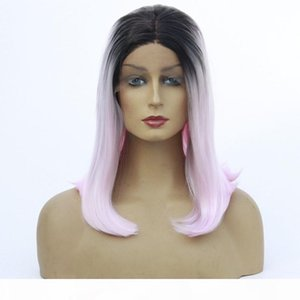 L Black Ombre Pink Short Bob Hair Wig Natural Straight Heat Resistant Glueless Synthetic Lace Front Wig For Women