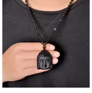 Nuovi 5pcs / lot ossidiana nera naturale Buddha Sakyamuni capo Pendente Unsex Amuleto fortunati pendenti dei monili con la collana Beads