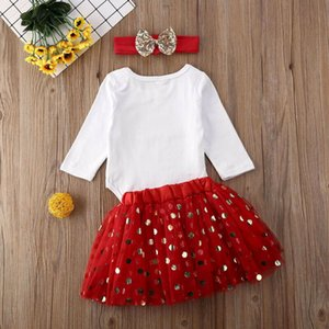 3Pcs Toddler Kid Baby Girl Long Sleeve Tops Letter Romper Sequins Lace Tut Party Christmas Tutu Skirt Headband Clothes Set