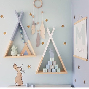 1pcs Nordic Wooden Triangle Shelf Wall Hanging Storage Rack Curricks Craf DIE Baby Room Decoration Supplies T200320