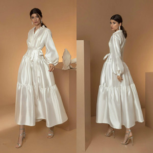 2020 Elegant A-line Bridal Dresses Long Sleeves Satin Sweep Train Lace Sash Wedding Dress Ruffle Custom Made Robes De Mariée
