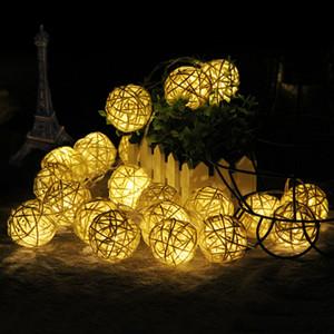 Светодиодные шарики Rattan Strings Fairy Lights аккумуляторное управление рождественские декоративные лампы открытый гирлянда свадебное освещение