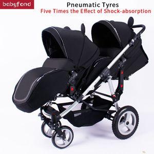Twins Poussette Minie Micky Double Luxe Pram Poussettes transport pour des jumeaux landaus pour bébé deux voitures Newborns légers