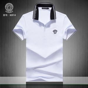 2019 Poloshirt Твердые рубашки поло Мужская Роскошные поло с длинным рукавом Мужская Basic Top Cotton Boy Дизайн бренда Polo Homme