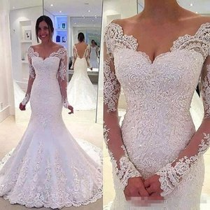 2019 Full Lace Mermaid Wedding Dresse Sexy Sheer Backless Elegante Off Spalla Appliques Perline Lungo Abiti Da Sposa Abiti Formali BC1788
