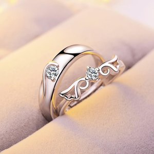Fashion Silver Couple Rings Adjustable Wedding Ring for Women and Men 2pc lot Engagement Ring Wedding Bands Jewelry