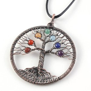 10 Pcs Copper Plated Wire Wrap Tree of Life with Small Stone Beads Pendant Necklace Healing Chakra Jewelry