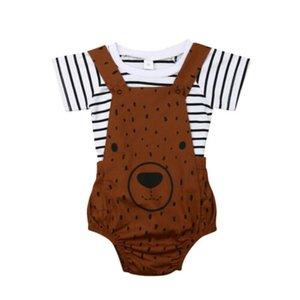 2PCS Pudcoco 2019 New Brand Neonato Neonato Ragazzi Ragazze Estate Vestiti Stripe T-shirt + Orso Bavaglino Pantalone Abiti